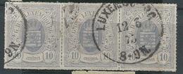 LUXEMBURGO YV Nº 17 BANDE DE TROIS EXEMPLAIRES. - 1859-1880 Armarios