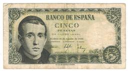 Spain 5 Pesetas 1951, Madrid, VF. See Scan. Rare. - 5 Pesetas
