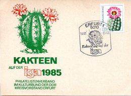 """(DDR-B2) DDR Sonderumschlag """"KAKTEEN Auf Der Iga 1985"""" EF Mi 2803 SSt 14.7.85 ERFURT 1 - Sukkulenten"""