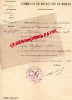 24-  SAINT SULPICE D' EXCIDEUIL- LANOUILLE-NONTRON-RARE CERTIFICAT BONNES VIE ET MOEURS-ANDRE TIGOULET NE A DUSSAC-1921 - Documents Historiques