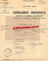 24- SAVIGNAC LES EGLISES-LE CHANGE-CONVOCATION INDIVIDUELLE CLASSE 49-CONSEIL REVISION RENE BOIVINEAU-PREFET SERGE BARET - Documents Historiques