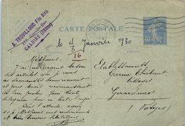 69 CALUIRE - A. Trouilloud Fils  - Oblitération (entiers Postaux ) - Caluire Et Cuire