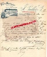 24- BELLEVUE SAINT AULAYE- RARE LETTRE MANUSCRITE SIGNEE N. GUILLOT-VINS SPIRITUEUX-1908 - Food
