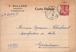 70 Fougerolles - C. Balland - Broderies - Oblitération (entiers Postaux ) - Autres Communes