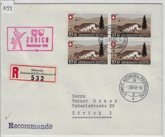 1945 Pro Patria B27/461 4er Block Charge Zürich Bundesfeier 1945 1.VIII.45 - Lettres & Documents