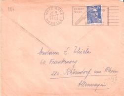 15f.Gandon Sur Lettre Pour L'Allemagne Oblitéré METZ GARE - Postmark Collection (Covers)