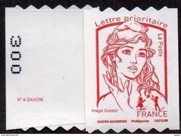 France Marianne De Ciappa Et Kawena N° 1256,** Autoadhésif. Roulette Prioritaire Sans Le Grammage, Verso à Gauche (PRO) - 2013-... Marianne De Ciappa-Kawena