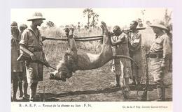 CPA AFRIQUE A.E.F. Retour De La Chasse Au Lion - Cartes Postales