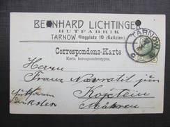 BRIEF Tarnow - Kojetin Hutfabrik Lichtinger 1907 //// D*24429 - 1850-1918 Imperium