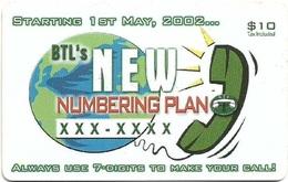 Belize - BTL - BTL's New Numbering Plan - Remote Mem. $10Bz, Used - Belize