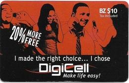 Belize - Digicell - 20% More Free - Remote Mem. $10Bz, Used - Belize