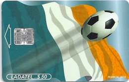 Mexico - Ladatel - World Cup - Flags Francia 18/32, (Strange Coloration!!) 50$, 03.1998, Used - Mexico