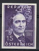 Österreich / Austria 1962, Ungezähnt: 100. Todestag Von Johann Nestroy **, MNH, Superbe! - 1945-.... 2. Republik