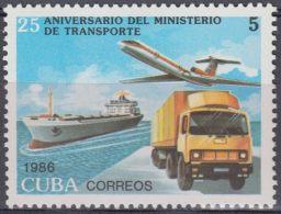 1986.118 CUBA Ed.3190. MNH. 1986. 25 ANIV MINISTERIO DE TRANSPORTE, SHIP, AVION, AIRPLANE. - Nuevos