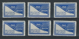 SS--184-. Ref.  MICHEL  , FLUGPOST-ZULASSUNGSMARKE, 6 X N° 1,  * * , Cote 7.20 €,  Je Liquide - Bizone