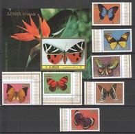 D983 AJMAN FLORA & FAUNA BUTTERFLIES 1BL+1SET MNH - Schmetterlinge