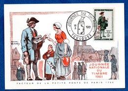 Carte Premier Jour  / Facteur De La Petite Poste De Paris 1760 / Toulouse / 18-03-1961 - 1960-69