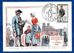 Carte Premier Jour  / Facteur De La Petite Poste De Paris 1760 / Macon / 18-03-1961 - Maximumkarten