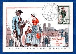 Carte Premier Jour  / Facteur De La Petite Poste De Paris 1760 / Besseges / 18-03-1961 - Maximumkarten