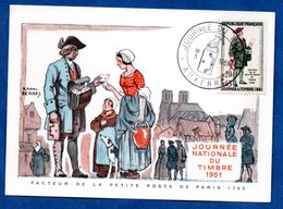 Carte Premier Jour  / Facteur De La Petite Poste De Paris 1760 / Auxerre / 18-03-1961 - Cartes-Maximum