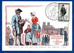 Carte Premier Jour  / Facteur De La Petite Poste De Paris 1760 / Bellac / 18-03-1961 - Maximumkarten