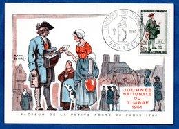 Carte Premier Jour  / Facteur De La Petite Poste De Paris 1760 / Bourges /  18-03-1961 - Maximumkarten