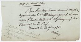 Thionville 1813 Bon Pour Harnachement De Chevaux - Documents Historiques