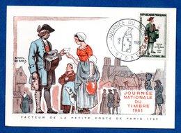 Carte Premier Jour  / Facteur De La Petite Poste De Paris 1760 / Niort /  18-03-1961 - Maximumkarten