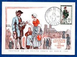 Carte Premier Jour  / Facteur De La Petite Poste De Paris 1760 / Orléans /  18-03-1961 - Maximumkarten