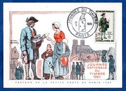 Carte Premier Jour  / Facteur De La Petite Poste De Paris 1760 / Paris /  18-03-1961 - Cartoline Maximum