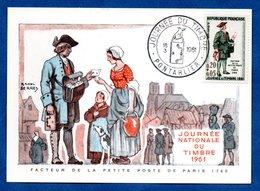 Carte Premier Jour  / Facteur De La Petite Poste De Paris 1760 / Pontarlier /  18-03-1961 - 1960-69