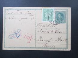 Österreich 1916 Postkarte / Ganzsache Mit Zusatzfrankatur! Roter Zensurstempel K2 Zensuriert KuK Zensurstelle 379 - 1850-1918 Imperium
