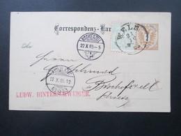 Österreich 1885 Ganzsache Ins Ausland Mit Zusatzfrankatur Nr. 45! Wels - Bischofszell. Ambulant No 33. Bahnpost. - 1850-1918 Imperium