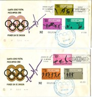 MEXICO Olympic Blocks On 4 Olympic Covers With First Day Cancels And Signature Of Designer Wyman - Summer 1968: Mexico City