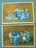Vers 1880 : 2 CHROMOS Doré IL PASSE PAR ICI LE FURET DU BOIS MESDAMES / LA TOUR PRENDS GARDE   Pub AU TAPIS ROUGE - Andere