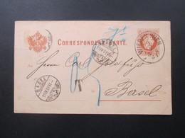 Österreich 1881 GA Ovaler Stempel Wieden Wien Nach Basel. T Stempel / Nachporto! Oest.-ung. Müller Zeitung - 1850-1918 Imperium