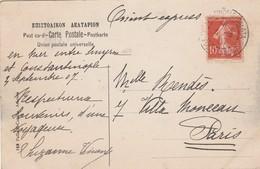 10 C SEMEUSE ORIENT EXPRESS Cachet CONSTANTINOPLE 1907 Pour PARIS Sur CPA ATHENES TEMPLE DE LA VICTOIRE - Levant (1885-1946)