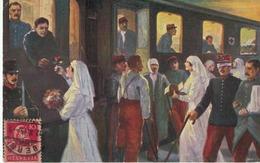 Passage En Suisse Des Grands Blessés Français - 1915 - Infirmières - Train - Soldats - Suiza