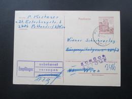 Österreich 1969 Ganzsache Pottendorf - Wien. Zurück / Retour. Empfänger Unbekannt Verzogen! Mit Vermerk! - 1945-.... 2. Republik