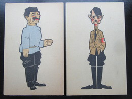 """WW2 Anti-deutsche Postkarten Hitler / Stalin - Niederlande 1945 """"The Big Five"""" - Karikatur - Weltkrieg 1939-45"""
