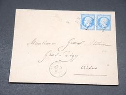 FRANCE - Enveloppe De Wasigny En 1860 , Affranchissement Napoléon Non Dentelé En Paire - L 19257 - 1849-1876: Klassieke Periode
