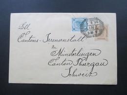 Österreich 1896 Streifband Mit Zusatzfrankatur Strichstempel Linz - Münsterlingen Canton Thurgau. Irrenanstalt - 1850-1918 Imperium