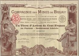 UN TIERS D'ACTION DE CENT FRANCS - COMPAGNIE DES MINES DE BRUAY - ANNEE 1939 - TB - Mines