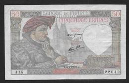 50 Fr  Jacques Coeur  Du  5 - 9 - 1940 - 1871-1952 Anciens Francs Circulés Au XXème