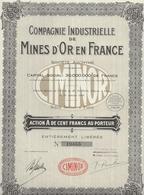ACTION A DE 100 FRS -COMPAGNIE INDUSTRIELLE DE  MINES D'OR EN FRANCE-1928 - Mines