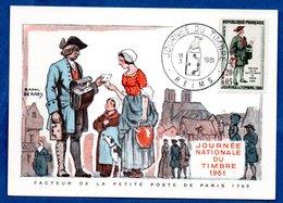 Carte Premier Jour  / Facteur De La Petite Poste De Paris 1760 / Reims /  18-03-1961 - Maximumkarten
