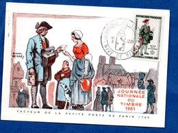 Carte Premier Jour  / Facteur De La Petite Poste De Paris 1760 / Rive De Gier  /  18-03-1961 - Maximumkarten