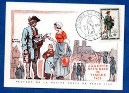 Carte Premier Jour  / Facteur De La Petite Poste De Paris 1760 / Rouen  /  18-03-1961 - Maximumkarten