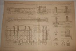 Plan Des Fondations à L'air Comprimé Des Jetées Du Nouveau Port De La Pallice. 1890 - Public Works