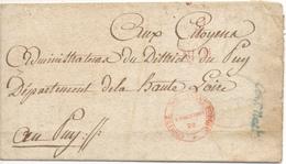 Marques Comité De Salut Public Et Convention Nationale Sur Lettre à Destination Du Puy - 1701-1800: Précurseurs XVIII